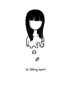 Im Falling Apart. She had in hope even when she was falling apart and that's what made her special Sad Drawings, Dark Art Drawings, Pencil Art Drawings, Art Drawings Sketches, Depression Art, Im Falling Apart, Broken Quotes Falling Apart, Sad Art, Drawing Tips