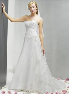 A-line/Sheath Sweetheart Sleeveless Ruching/Lace/Appliques/Veading Empire Chapel-train Elegant Elastic Wedding Dresses WE0128