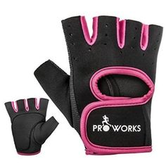 Proworks Women's Padded Grip Fingerless Gym Gloves for Weight Lifting, Cross Training, Exercise Bikes