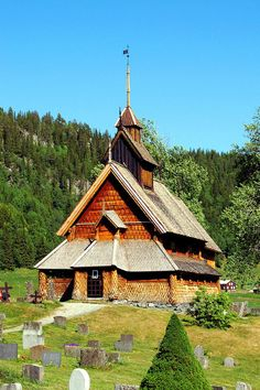 Eidsborg stavkirke in Tokke in Telemark, built middle of 1250s, Norway