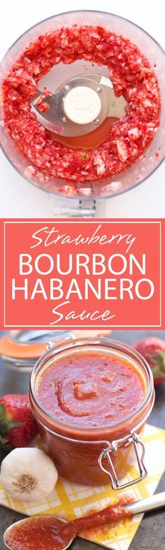 Strawberry Bourbon Habanero BBQ Sauce - sweet, oaky, and spicy flavors are bursting in this sauce; get ready to use this recipe for all your grilling adventures! Habanero Sauce, Habanero Jelly, Habanero Recipes, Hot Sauce Recipes, Top Recipes, Chutney, Salsa De Habaneros, Chili, Sauces