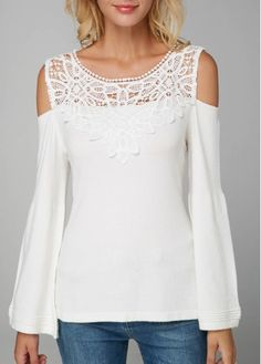 Stylish Tops For Girls, Trendy Tops, Trendy Fashion Tops, Trendy Tops For Women Stylish Tops For Girls, Trendy Tops For Women, Blouses For Women, Blouse Styles, Blouse Designs, Cold Shoulder Blouse, White Cold Shoulder Top, Ladies Dress Design, White Lace