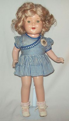 "Vintage 1930's 18"" Composition SHIRLEY TEMPLE DOLL Sleep Eyes *UNMARKED* #DollswithClothingAccessories"