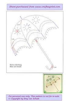Parasol on Craftsuprint designed by Emy van Schaik - Stitching with beads… Embroidery Cards, Cross Stitch Embroidery, Embroidery Patterns, Card Patterns, Stitch Patterns, Doily Patterns, Dress Patterns, Stitching On Paper, Sewing Cards