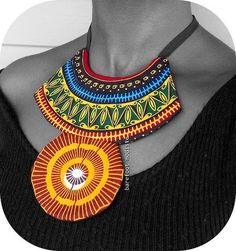 Vibrant African neckwear, Unique statement neck cuff, African Bib necklace, One of a Kind African Patchwork Collar, B Modiste Handmade