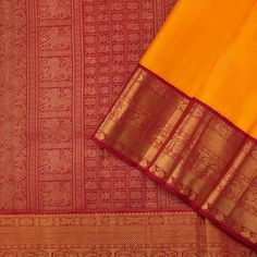 This beautiful kanjivaram sari in yellow is handwoven with paisley and peacock motifs in gold zari, dotted on the body. The korvai border in red has yazhi, peacock, paisley, twill and geometric motifs in gold zari. Pure Silk Sarees, Hand Weaving, Paisley, Dots, Sari, India, Pure Products, Bridal, Cover
