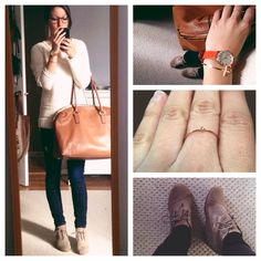 My Pinterest inspired outfit! What/Where: -Tom's Wedges -Michael Kors Hamilton Weekend Bag (TJ Maxx find!!) -Sweater from Forever 21 -Diamond Ring by Anine Bing -Anne Klein watch from Nordstrom Rack -Cross Bangle from Francesca;s -Dark Skinnies from Express -Warby Parker Arthur frames