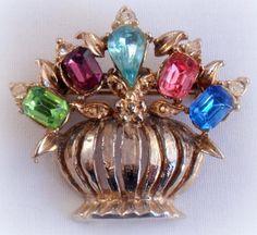 Vintage Flower Pot Pin with Jeweled Flowers Rhinestones Gemstones 19.99