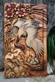 Wood Carving Designs, Wood Carving Patterns, Wood Carving Art, Clay Wall Art, Mural Wall Art, Mural Painting, Wall Sculptures, Sculpture Art, Plaster Art