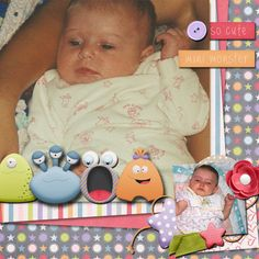 Pictures of my daughter.  Kit used: SAS Designs' My Little Monster.  Template: SAS Designs' Template Fun Vol. 5.  Both the kit and template area available at http://www.mscraps.com/shop/sas/