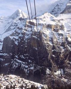 Gondola in Mürren to see the Jungfrau, Eiger and Mönch from Piz Gloria! Winter Day, Winter Travel, Switzerland, Beautiful, Instagram