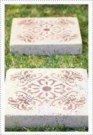 Use a stencil and outdoor spray paint to transform boring inexpensive paver stones into art. Use cement glue and make decorated square cement planters.