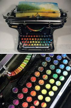 Chromatic Typewriter Prints  Tyree Callahan has recycled (or upcycled, perhaps) a classic 1937 Underwood typewriter by replacing letters with sponges soaked across the spectrum with bright yellows, reds, blues and combinations thereof.