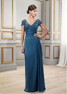 Buy discount Elegant Chiffon Sheath V-neck Floor-length Mother of the Bride Dresses at Dressilyme.com
