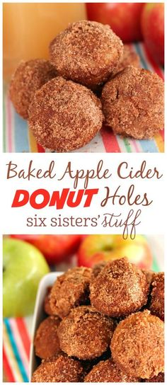 Baked Apple Cider Donut Holes recipe from @sixsistersstuff   These are the perfect weekend breakfast!  You won't believe how fast and easy to make, and they taste amazing!  We love eating them warm right out of the oven after being rolled in the cinnamon sugar!