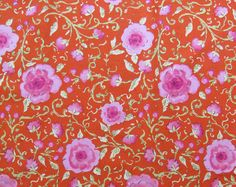 Red with Pink Flowers Quilter's Weight by SuchPrettySupplies, $11.00