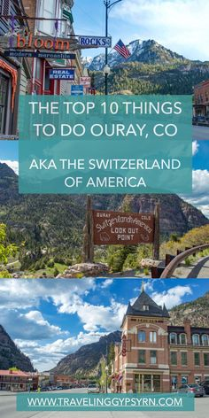 "Ouray Colorado is located at the end of the ""Million Dollar Highway"" and is affectionately known as the ""Switzerland of America"". Check out the Top 10 Things to do in this awesome Colorado mountain town! Winter Park Colorado, Telluride Colorado, Estes Park Colorado, Breckenridge Colorado, Road Trip To Colorado, Colorado Hiking, Colorado Rockies, Colorado Springs Things To Do, Vacation In Colorado"