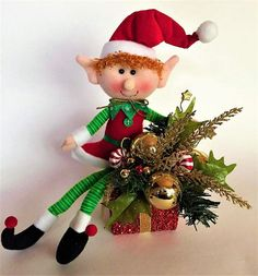 Elf on a Gift  Holiday Floral Holiday Decor Elf Floral