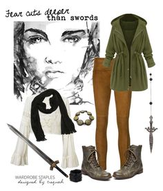 """Arya Stark: Inspired by Game of Thrones"" by trequah on Polyvore featuring Miss Selfridge, Getting Back To Square One, WithChic, Steve Madden, Calvin Klein, Elise Dray, Saachi, Leggings, GameOfThrones and AryaStark"
