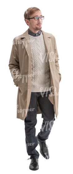 cut out man in a beige overcoat walking