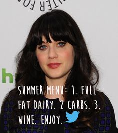"""Zooey Deschanel responding to accusations that she's too """"fat"""".  Something is seriously wrong with a culture that considers Zooey Deschanel fat.  Seriously."""