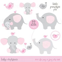BABY SHOWER ELEPHANTS - Clip art & digital papers set in premium quality 300…