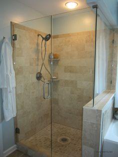 Bathroom Tumbled Travertine Shower