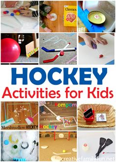 Fun Hockey Activities for Kids – Creative Family Fun All About Hockey! 15 Fun Hockey Activities Your Kids Will Love – Games, crafts, science experiments, and learning activities for kids. Sports Activities For Kids, Kids Learning Activities, Winter Activities, Preschool Activities, Games For Kids, Family Activities, Fun Games, Kids Sports Crafts, Family Games