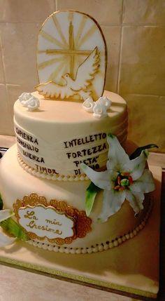torta per la cresima Mini Cakes, Cupcake Cakes, Cupcakes, Confirmation Cakes, First Communion Cakes, Occasion Cakes, Cake Tutorial, Celebration Cakes, Fondant