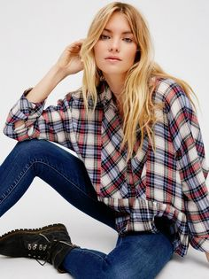 New Free People Promise Me Everything Plaid Shirt 70% Viscose /Wool Blue Combo M #FreePeople #ButtonDown #Versatile