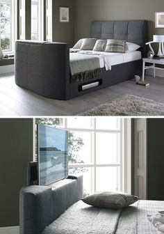 Hidden Tv Bedroom Furniture 8 Ways to Include A Tv In the Bedroom Tv Shelf Design, Bedroom Tv Unit Design, Tv Unit Bedroom, Bedroom Tv Stand, Bed Frame Design, Master Bedroom Interior, Modern Bedroom Decor, Bedroom Furniture, Smart Furniture