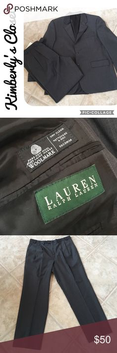 "🌟RALPH LAUREN🌟 2 Piece Suit RALPH LAUREN 2 piece suit - jacket and dress pants.  Charcoal gray with light pin stripe.  There are no size tags on the pants or jacket - Pants most likely fit a size 34 waist - they measure 18"" across waist band when laying flat.  Inseam measures 29"". Pants are pleated with sewn in cuffs.  Jacket is most likely a size 42 - measures 19.25"" across back of shoulders from seam to seam.  Sleeve is 25"" long from top of shoulder seam to bottom.  Gently used - great…"