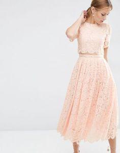 35752aa7d750793 Платье миди для выпускного с укороченным кружевным лифом ASOS Кружевное  Платье, Платье Юбка, Платья