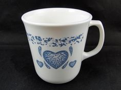 "Corning Corelle BLUE HEARTS Cup or Mug 3 3/8"" USA (Set of 2) #Corelle"