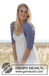 """Caroline - Crochet DROPS bolero with lace pattern in """"Baby Alpaca Silk"""". Size: S - XXXL - Free pattern by DROPS Design"""