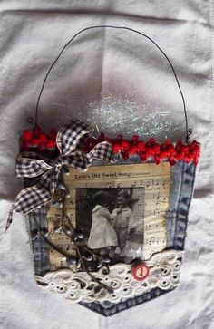 Vintage Photo And Love's Old Sweet Song Sheet Music Jean Wall Pocket - Hey Mom, I have the pockets to make these! Been collecting them forever! Jean Crafts, Denim Crafts, Holiday Crafts, Christmas Crafts, Christmas Ornaments, Music Ornaments, Photo Ornaments, Christmas Tree, Fabric Crafts