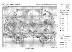 Camper Van 2 of 2 Just Cross Stitch, Cross Stitch Boards, Cross Stitch Heart, Cross Stitching, Cross Stitch Embroidery, Embroidery Patterns, Hand Embroidery, Cross Stitch Designs, Cross Stitch Patterns
