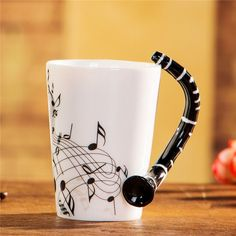 Music Note Mug with Clarinet Handle