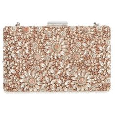 Women's Glint Floraison Beaded Frame Clutch ($175) ❤ liked on Polyvore featuring bags, handbags, clutches, blush, chain handle handbags, beaded handbag, chain strap purse, beaded clutches and beige handbags