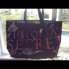 Rare! Vs Black Shiny Huge Tote- Bnwt
