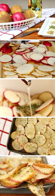 Baked Herb and Parmesan Potato Slices: for me, the oven temp needed to be raised to for about 25 min. I also used Asiago cheese, instead of Parm - yummy! Think Food, I Love Food, Good Food, Yummy Food, Parmesan Chips, Parmesan Potatoes, Vegan Parmesan, Roasted Potatoes, Potato Slices
