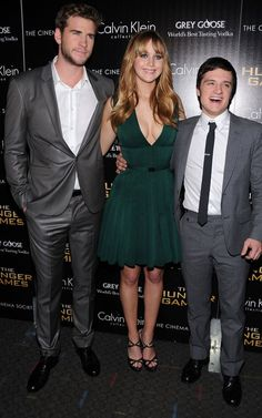 Liam Hemsworth, Jennifer Lawrence, and Josh Hutcherson at the New York premiere of The Hunger Games today.