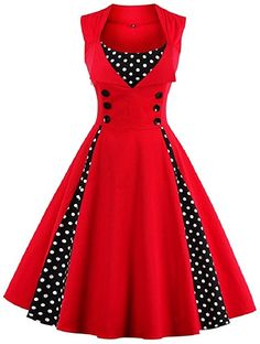 HOMEY INN Women's Retro 1950s Style Polka Dot Print Rockabilly Party Vintage Dress (S, Red) at Amazon Women's Clothing store: