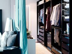 Extraordinary Black Furnish Wood Walk-In Closet Design with Cyan Curtain Divider for Classy Home Interior Design. Beautiful Walk-In Closet Designs For Inspiration Diy Walk In Closet, Walk Through Closet, Closet Bedroom, Closet Space, Ikea Closet, Hidden Closet, Master Closet, Ikea Bedroom, Home Bedroom
