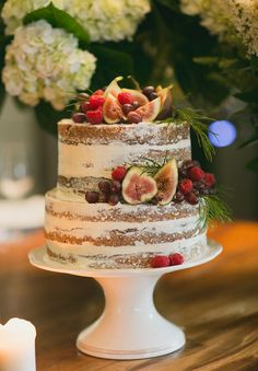 GABBY + MATT // #wedding #cake #nakedcake #figs #grapes #white #reception #ceremony #bride #groom #southcoast #photographer