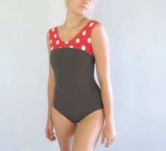 Polka Dot Ballet Leotard in Tank Top Style and Scoop Neck Women's Small