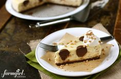 Toffee Cheesecake with Chocolate Polka Dots  from @Brenda - a farmgirl's dabbles