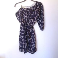 Gianni Bini Party Dress One shoulder. Fully lined. Elastic waist for a better fit. Comes with matching sash. Perfect for holiday and New Years parties! Navy and silver print. Gianni Bini Dresses