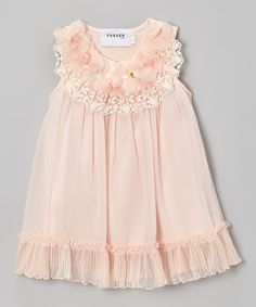 Peach Pleated Hem Swing Dress - Toddler & Girls by Fouger for Kids #zulily #zulilyfinds