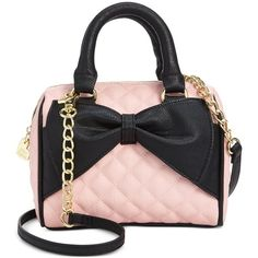 Betsey Johnson Mini Bow Quilted Satchel ($58) ❤ liked on Polyvore featuring bags, handbags, blush, mini satchel, satchel purse, betsey johnson handbags, black quilted handbag and mini handbags